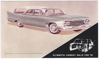 1960 Plymouth SPORT SUBURBAN 4-Door WAGON Original Dealer Promo Postcard UNUSED