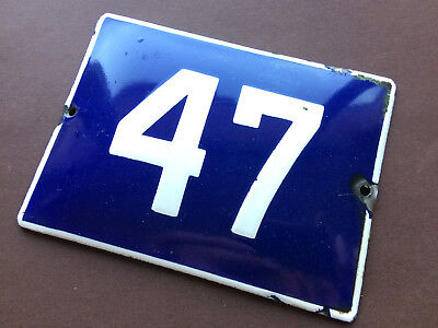 ANTIQUE VINTAGE EUROPEAN ENAMEL SIGN HOUSE NUMBER 47 DOOR GATE SIGN BLUE 1950's