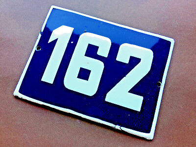 ANTIQUE VINTAGE EUROPEAN ENAMEL SIGN HOUSE NUMBER 162 DOOR GATE SIGN BLUE 1950's