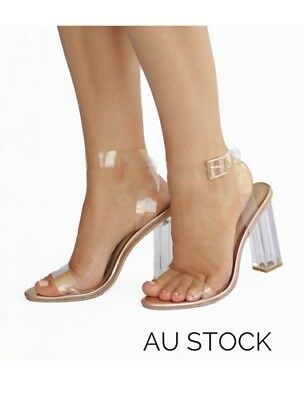 Women's fashion shoes high heels clear heel transparent block heel buckle strap