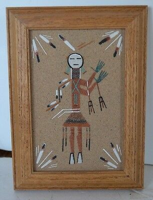 Vintage Sand Picture Coyote People Signed Begay Navajo Indian Native American