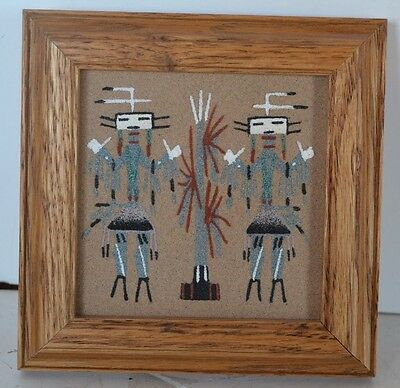 Vintage Sand Picture Corn People Signed Begay Navajo Indian Native American