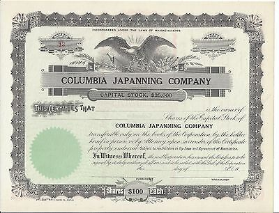 Columbia Japanning Company.......unissued Stock Certificate