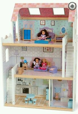 New Emilys Wooden Dolls House Pretend PLAY Doll DOLLHOUSE 19 pcs 3-Storeys