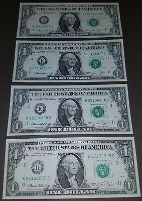 Disappearing serial number digit error - 4 notes in sequence.  Rare error