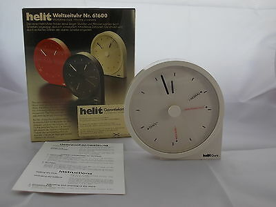70/80er World Clock Helit Design W.Zeischegg Space Age White Table