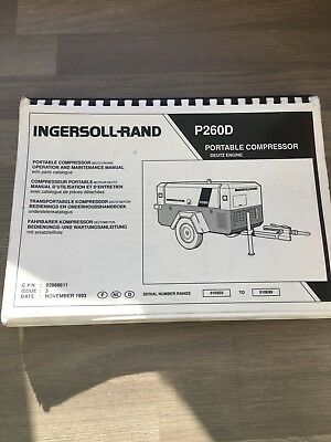 Ingersoll Rand P260Wd Air Compressor Operation Part Maintenance Manual 92868611