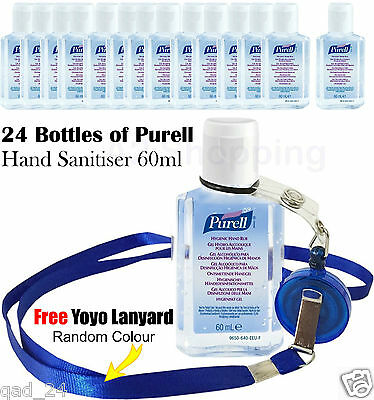 24x Bottles of Purell Hand Sanitiser Gel Handwash Liquid dispenser 60ml FLIP CAP