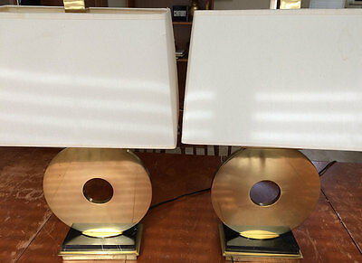 """Pair of Hollywood Regency Robert Abbey Table """"O"""" Lamps, Vintage Brass Lamps"""