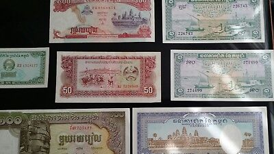 7 vintage Cambodia currency bank notes