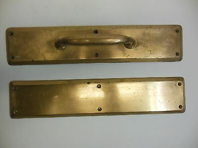Matching Industrial Commercial Brass Door Pull & Push Plate 15 3/4'' X 3 1/2''