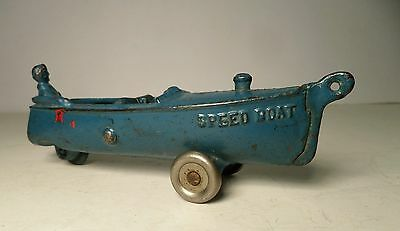 """A C Williams Cast Iron Blue """" Speed Boat """" Pull Toy Antique Outboard Race Motor"""