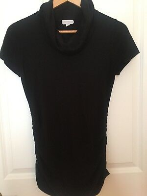 A Pea in the Pod Black Short Sleeve Cowl Neck Silk Blend Sweater Size M