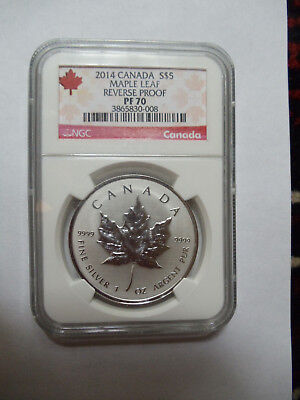 2014 Canada Maple Leaf S $5 Reverse Proof Early Release PF70