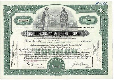 Detroit & Canada Tunnel Company......!931 Common Stock Certificate