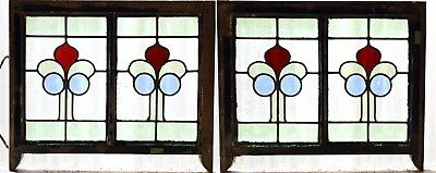 Pair of Antique Stained Glass Windows Four Colors Art Nouveau Tulips (3060)
