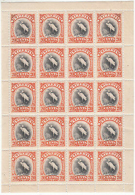 Liberia # 106 MNH Complete Sheet 1906 Perkins Bacon Fauna Bird CV Hinged $170!
