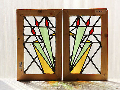 Pair of Antique Stained Glass Windows Three Colors Art Deco Tulips (3063)
