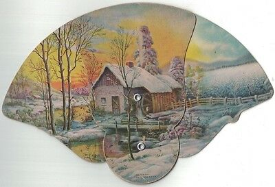 Vintage Advertising Cardboard Pull Out Fan White County Implement - The Old Mill