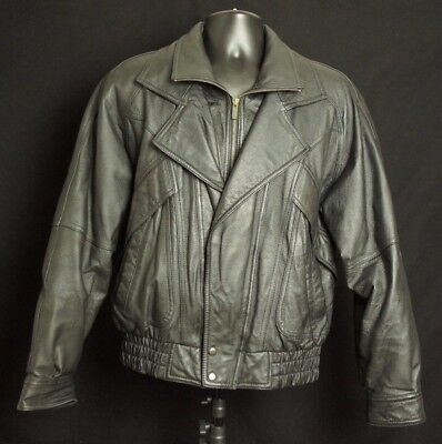 Wilsons Black Leather Riding Motorcycle Jacket Mens Size Small Bomber