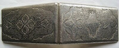 Exquisite Large 19thC Persian Solid Silver Cigarette Case 227g