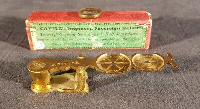 Antike Rocker Gold Münzwaage Antique Gold Coin Scale Tester Sovereign B CATTLE