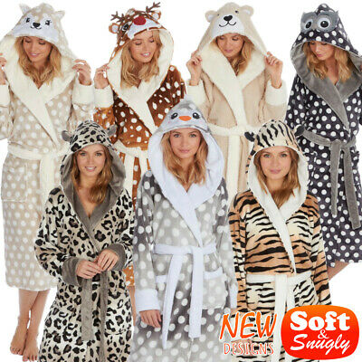 3D Animal Face Ladies Girls Novelty Hooded Fleece Bath Night Robe Dressing Gown