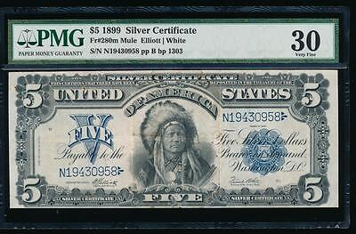 AC Fr 280 1899 $5 Silver Certificate PMG 30 comment CHIEF NOTE!