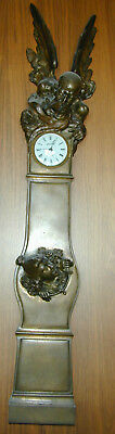 Antique French Bronze Father Time and New Year Baby Wall Clock Museum Quility