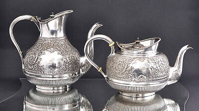 Antique Victorian Ornate Silver Plated Teapot & Coffee Pot by Martin Hall & Co