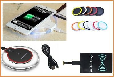 Qi Wireless Charger Charging Pad+Receiver for iPhone 5 6 7 Samsung  HTC
