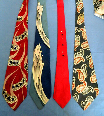 4 Vintage 1940's/1950's Men's Swing Ties Paisley Etc.