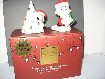 Peanuts Snoopy and Charlie Brown Lenox Christmas Salt & Pepper Shakers