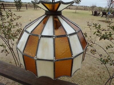 20248 Vintage Stained Glass Slag Hanging Swag Lamp Light Ceiling Fixture