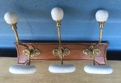 Vintage Solid Brass Wood Wall Mounted  Hook Coat And Hat Rack With Porcelain