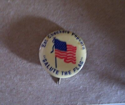 "Cracker Jack Competitor Checkers Popcorn Pinback Button ""salute The Flag"""