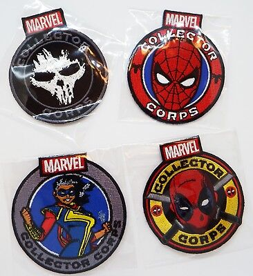 Marvel Collectors Corps exclusive patch set of 4 w/ spiderman, deadpool