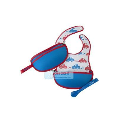 B.Box The Essential Travel Bib  - Beep Beep Baby Feeding Bib and Spoon Set