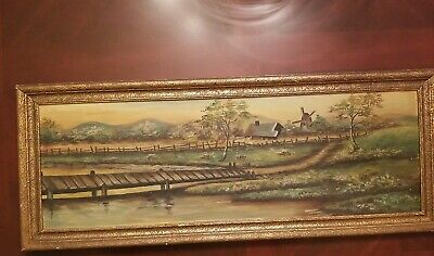 Antique Oil on Sand Textured Academy Board Landscape with Windmill Signed RMD