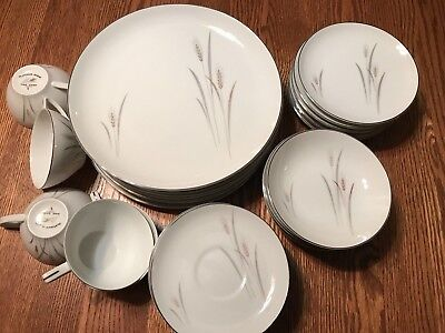 37 Pc PLATINUM WHEAT Fine China Japan Dinner Plate Bread Berry Bowl Cup Saucer