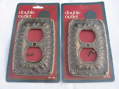 Lot of (2) Vintage Kirsch Chateau Brass Double Outlet Covers New NOS