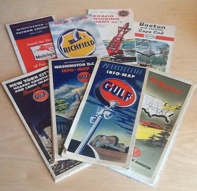 Vintage Lot Of 8 Gas Station Road Maps TEXACO Gulf Mobil Richfield Esso AAA 60's