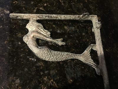Turquoise Mermaid Cast Iron Wall Shelf Brackets  Nautical Beach House Decor