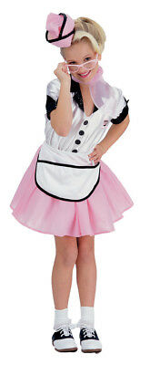 Girls 50's Soda Pop Waitress Sock Hop Party Costume Dress S Ru38734