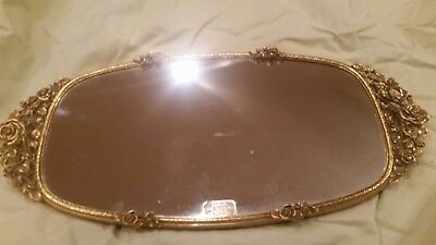 Matson Vintage 24 KT Gold Plated Rose Detail Vanity Mirror Tray
