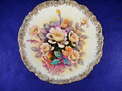 "Hand painted Japan display plate 8 1/2"" - yellow and pink roses gold trim signed"