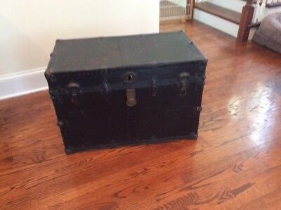 "Vintage Yale & Towne Steamer Trunk -- 32"" X 18"" X 21.5"".  PICK UP ONLY"