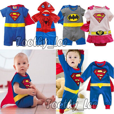 Infant Baby Boy Girl Superhero Costume Jumpsuit Outfit Romper Cosplay 3-24 Mths