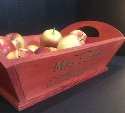 """Advertising RED 3/8"""" WOOD TRAY Mrs Pott's Baking Baked Goods 1923 10""""x15.5""""x4"""""""