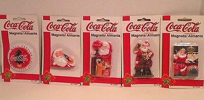 5 Different Unopened 1997 Coca-Cola Christmas Magnets Santa Holiday Greetings